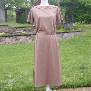 Taupe red blue green short sleeve long dress